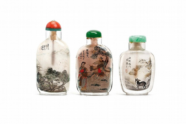 THREE CHINESE INSIDE PAINTED SNUFF BOTTLES, BY ZHOU LEYUAN, YE ZHONGSAN AND ZHOU YUEYUAN. 20th Century. The left bottle dated 1950, by Zhou Leyuan depicting a continuous landscape scene, the central bottle dated 1964, by Ye Zhongsan, depicting a scene from Pu Songling's Strange Tales from a Chinese Studio, the right bottle by Zhou Yueyuan depicting a small mammal, 6 - 7.5cm H. (3) Provenance: Collection of Bernard Buckman (1910 – 1991). 20?? ??????????? ?????:???? ???? ?????: ????? ???? ???? ??? ?  (????) ?????:??? ????