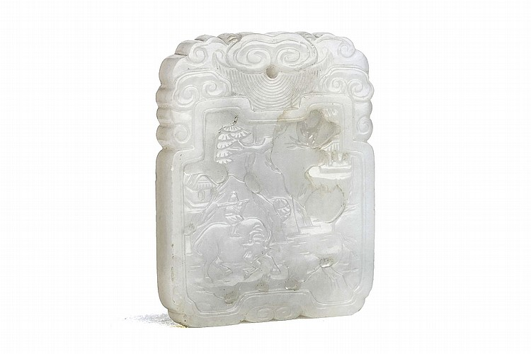A CHINESE WHITE JADE RECTANGULAR PENDANT. Qing Dynasty. Of rectangular form and deeply incised to one side with a landscape scene, the reverse with a three line inscription of a poem, wood stand, 5 x 4cm. Provenance: Collection of Bernard Buckman (1910 – 1991). ? ??? ??????????
