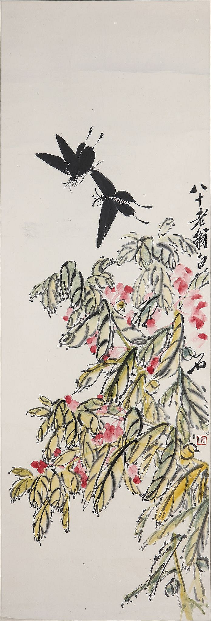 QI BAISHI (1864 – 1957). Garden Balsam and Butterflies, signed BASHI LAOWENG BAISHI, and with one seal of the artist, ink and colour on paper, 1944, hanging scroll, 101 x 36cm. Provenance: Collection of Bernard Buckman (1910 – 1991). ???(1864 - 1957)  ??? ????????? Provenance: Bernard Buckman (1910 – 1991) collection.