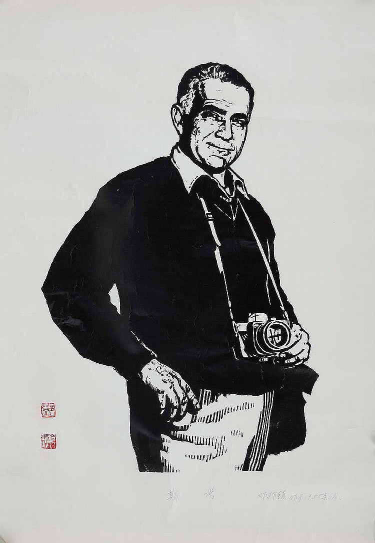DENG BANGZHEN (1941 –). 1985. Si Nuo, oil-based woodblock print on paper depicting the journalist Edgar Snow (1905 – 1972), 54 x 39.5cm. Provenance: Collection of Bernard Buckman (1910 – 1991). ???(1941 –)?? ??? ?? ?????1985?6? ??????????