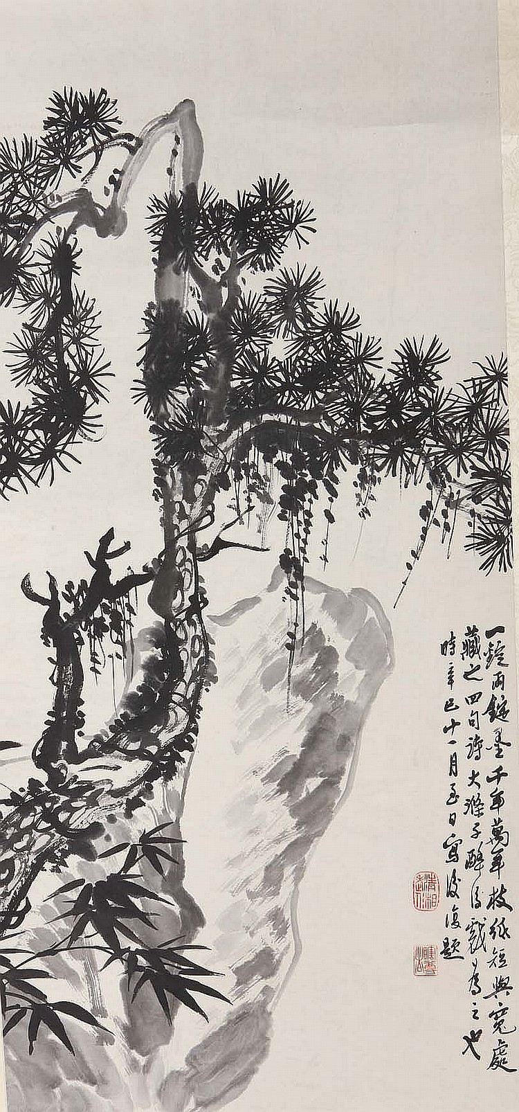 FOLLOWER OF SHI TAO (1642 – 1707).   Flowers, 86 x 40cm; pine and rocks, 85 x 41cm, ink on paper, hanging scroll. (2)   Provenance: Collection of Bernard Buckman (1910 – 1991).   ???  ????    ????????    ?????: ????? ????? ????? ?????  ????????? ???????? ????,??: ???????????    ?????: ??????? ??????? ??????? ??????? ??????? ??????? ??????? ??????? ????? ?,??: ??????