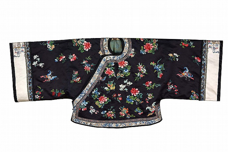 A COLLECTION OF CHINESE EMBROIDERED TEXTILES.   Qing Dynasty, 18th Century, and later.   Comprising a 'hundred birds' embroidery, three rank badges, eight embroidered figurative roundels and an informal ladies robe. (13)   Provenance: Collection of Bernard Buckman (1910 – 1991).   ? 18?? ?????