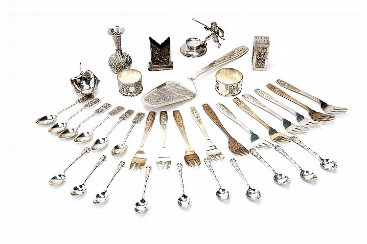 A COLLECTION OF EXPORT SILVER ITEMS.   Comprising of spoons, napkin rings and other articles. (Qty)   Provenance: Collection of Bernard Buckman (1910 – 1991).   ???????????????