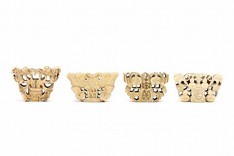 FOUR CHINESE IVORY 'BUTTERFLY' TOGGLES.   Qing Dynasty.   Carved and pierced, 3.5 x 5cm. (4)   Provenance: Collection of Bernard Buckman (1910 – 1991).   ? ????????