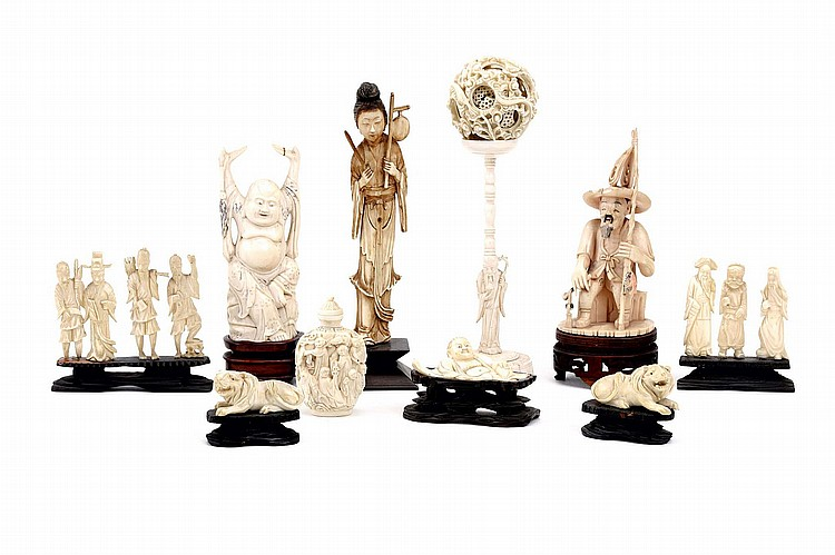 A GROUP OF CHINESE IVORY CARVINGS.   19th / 20th Century.   5-21cm H. (10)   Provenance: Collection of Bernard Buckman (1910 – 1991).   19-20?? ?????
