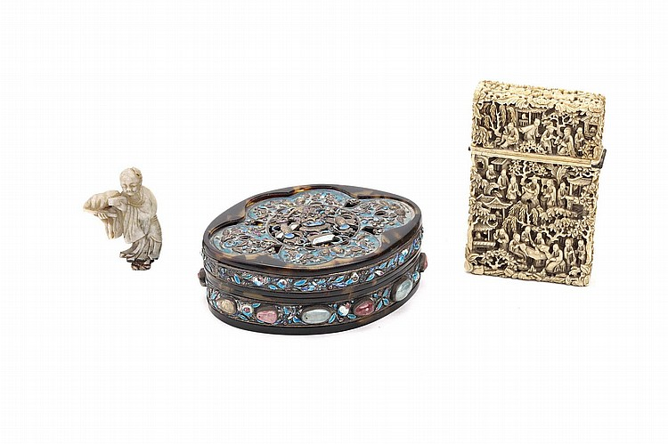 A CHINESE IVORY CARD CASE, AN ENAMELLED WHITE METAL AND TORTOISESHELL BOX AND COVER AND A JADE CARVING OF A BOY.   Qing Dynasty.   The card case deeply incised on all sides with figures in a landscape, the card case of oval form, with white metal panels enamelled and inset with semi-precious stones, the jade figure standing in long flowing robes, 11 x 8cm. (3)   ?  ?????????????????????????
