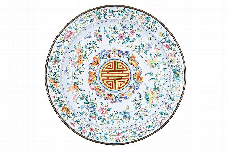 A CHINESE CANTON ENAMEL DISH.   Qing Dynasty, 18th Century.   Decorated with bats and shou characters, 33.5cm diameter.   ?? 18?? ???????