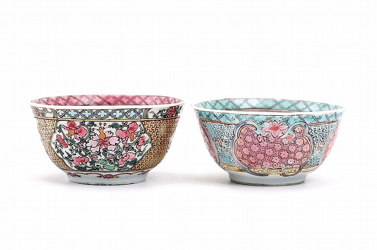 TWO CHINESE 'FAMILLE ROSE' CUPS AND SAUCERS WITH FLORAL DESIGNS.   Qing Dynasty, Yongzheng era.   The cups 4cm H, the saucers 12cm diameter. (4)   ? ?? ?????????