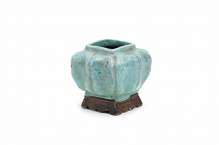 A CHINESE ROBINS-EGG GLAZED WASHER. Qing Dynasty, 18th Century. Of rectangular form with hand modelled canted sides, supported on a spreading rectangular base, 5cm H. Provenance: John Marriott (1921-2007) and Count R.L. Sangorski (1940-2014) Collection; acquired from John Sparks, 8th September 1986. ? 18?? ????