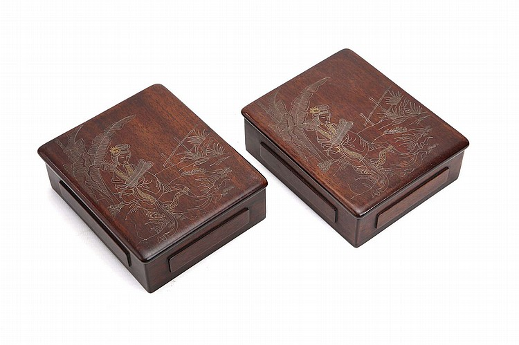 A CHINESE PAIR OF RECTANGULAR WOODEN BOXES WITH GOLD AND SILVER-INLAID COVERS. Qing Dynasty / Republican era. Each finely decorated with a scene of a lady seated on a rock, 4 x 11 x 9.5cm (2) ??/???? ??????????