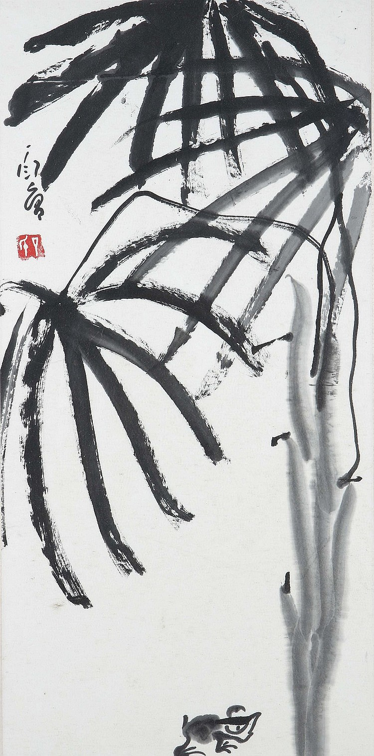 DING YANYONG (1902 – 1978). Frog beneath banana leaves, ink on paper, framed and glazed, 69 x 34cm. Provenance: Gordon Aldrick Collection; acquired in Taiwan circa 1985 on the advice of Lo Ch'ing. ????1902 – 1978? ???