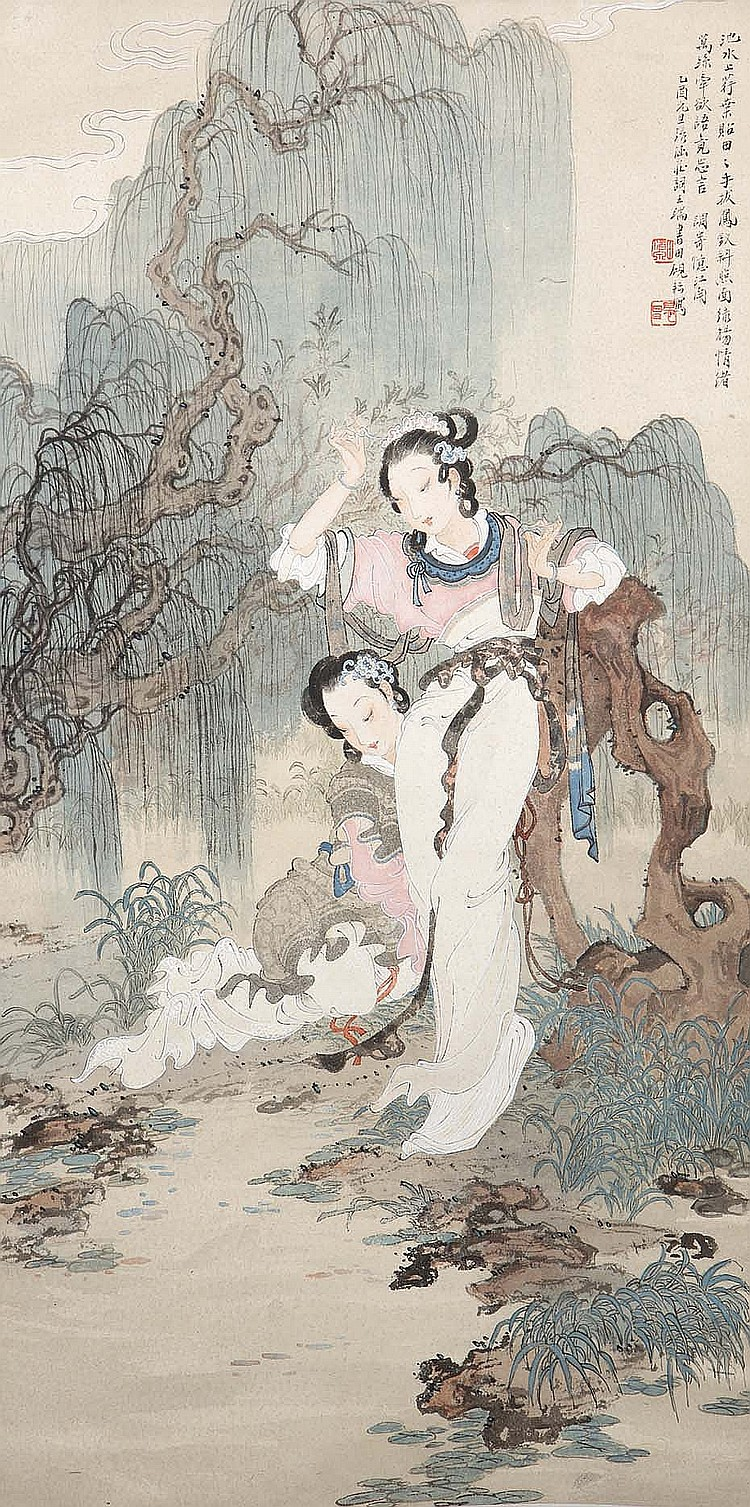TIAN YANYUN.   1945.   Beauties, ink and colour on paper, hanging scroll, 67 x 34cm.   Provenance: Gordon Aldrick Collection.   ??? ???    ??????????? ??????? ??????? ????? ?????    ???????????????    ????????