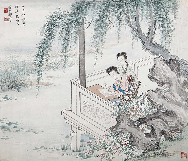 ZHANG MUKANG (1901 – 1982). 1944. Shi nu, ink and colour on paper, hanging scroll, 35 x 42cm. Provenance: Gordon Aldrick Collection. ??? ??? ??? ??????????? ????? ??????????????????
