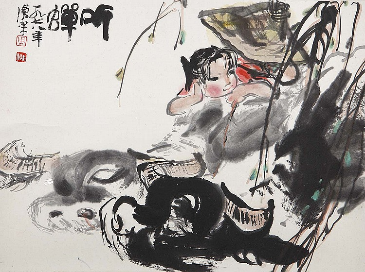 ZHOU CANGMI (1929 – 2011). 1978. Listening to cicadas, ink and colour on paper, hanging scroll, 34 x 45cm. Provenance: Gordon Aldrick Collection; acquired from the Chi Mei Chai Gallery in Great Russell Square. ???(1929 – 2011) ????? ????? ?? ??????????