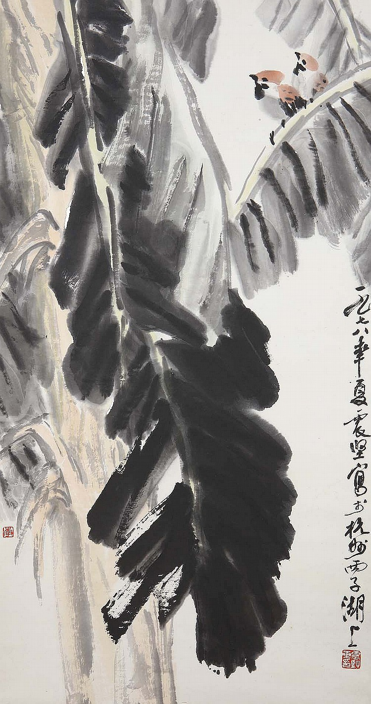 LI ZHENJIAN (1921 – 1992). 1978. Birds and banana leaves, ink and colour on paper, hanging scroll, 89 x 46cm. Provenance: Gordon Aldrick Collection; acquired from the Chi Mei Chai Gallery in Great Russell Square. ???(1921 – 1992) ??? ???????????????? ????????????