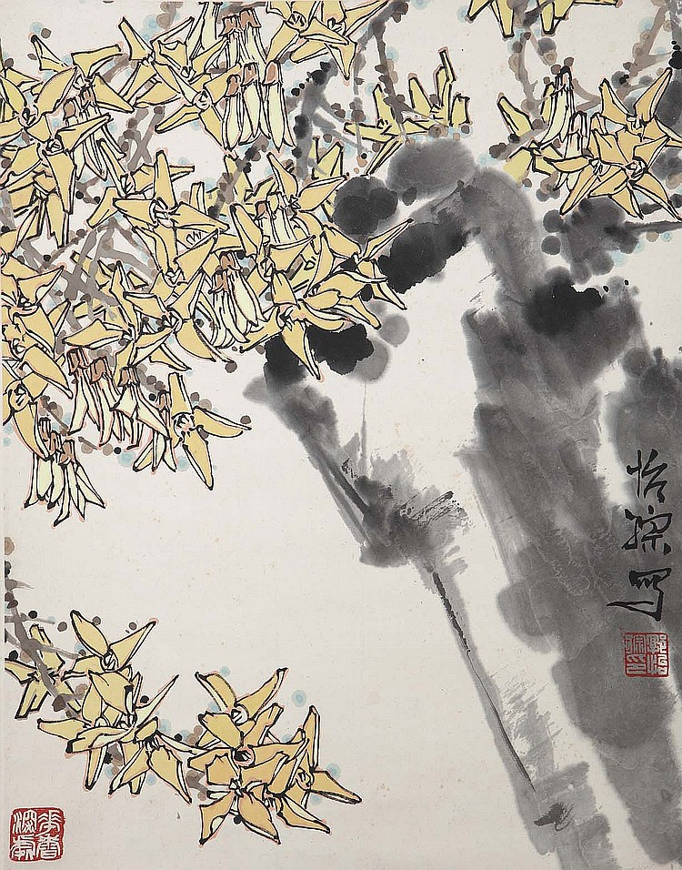 GUO YICONG (1940 –). Ink and colour on paper, hanging scroll, 43 x 33cm. Provenance: Gordon Aldrick Collection; acquired from the Chi Mei Chai Gallery in Great Russell Square. ???(1940 –) ?????? ???????????????