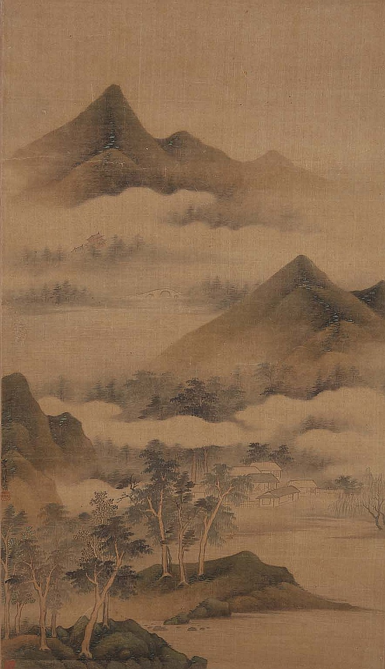 CHINESE SCHOOL.   Landscape, ink and colour on paper, hanging scroll, 77 x 44cm.   Provenance: Gordon Aldrick Collection.   ??? ????