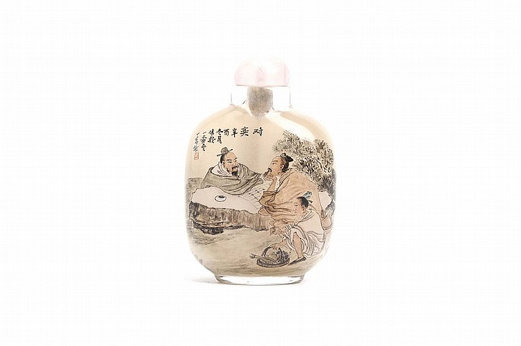 A CHINESE INSIDE PAINTED SNUFF BOTTLE.   1981.   Decorated on one side with two scholars, the reverse with a man together with three goats, stopper, 8cm H.   ?????
