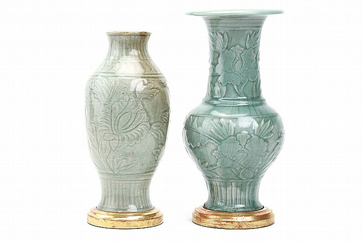 A CHINESE LONGQUAN CELADON PHOENIX TAIL VASE, TOGETHER WITH A JAR. Ming Dynasty. Each incised with floral patterns, 37 / 42cm H. (2) ?? ???????????