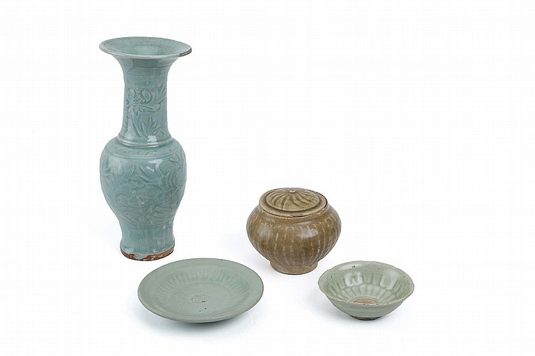 A CHINESE LONGQUAN CELADON PHOENIX TAIL VASE, TOGETHER WITH THREE CELADON-GLAZED WARES. Ming Dynasty. The vase with incised floral patterns, 31cm H. (4) ?? ???????????????