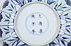 A CHINESE PAIR OF BLUE AND WHITE 'ASTER PATTERN' DISHES.   Qing Dynasty, Kangxi mark and period.   With a barbed rim, painted to the central medallion with aster blossoms on a meandering foliate scroll ground, encircled by radiating panels enclosing aster stems, six character mark to base, 15.5cm diameter. (2)   ? ?? ???????? ?????????