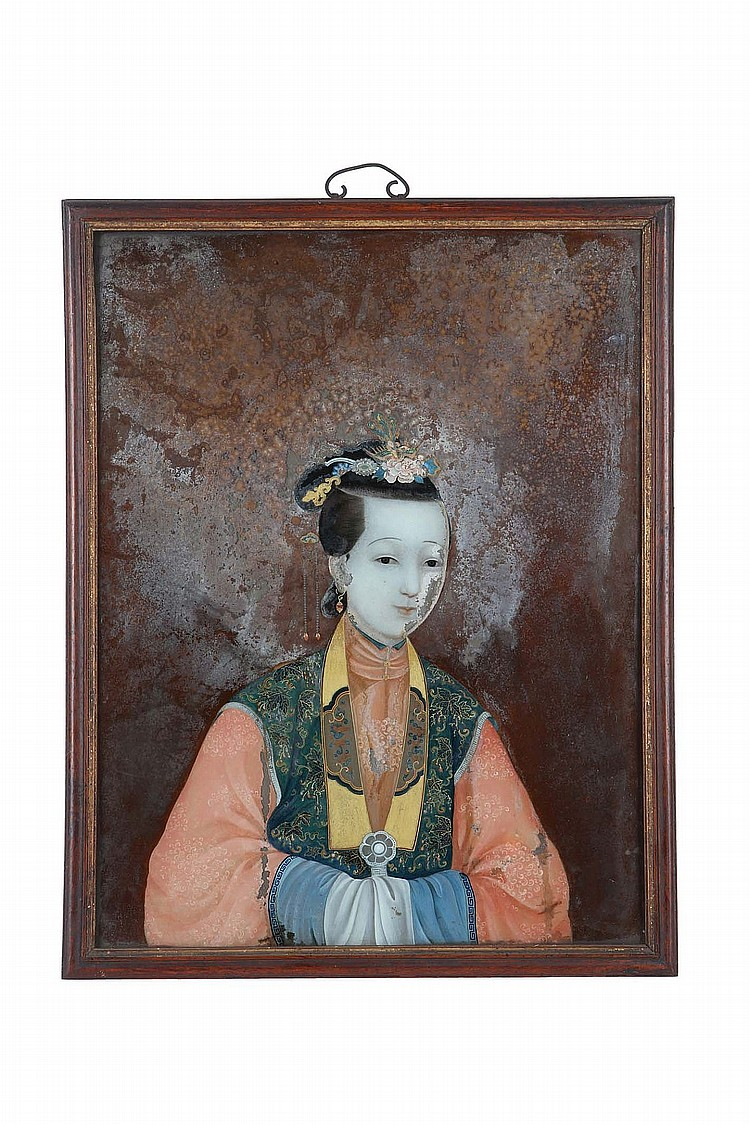 A CHINESE REVERSE GLASS PAINTING OF A LADY.   Qing Dynasty, 18th / 19th Century.   Depicting a lady elegantly attired, the hands joined at the front below long sleeves, 49 x 38cm.   ?18-19?? ??????