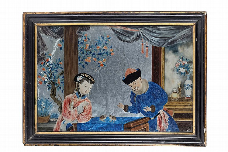 A CHINESE REVERSE GLASS PAINTING. Qing Dynasty, 19th Century. Depicting a lady and a gentleman before a table where two quails sitting on a blue cloth, 74 x 54cm. ?19?? ??????