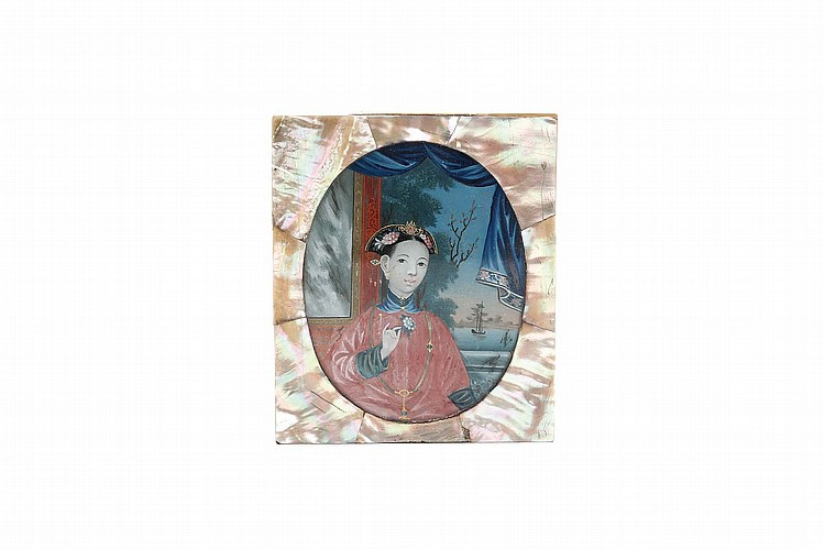 A CHINESE RECTANGULAR MOTHER-OF-PEARL BOX AND COVER, INSET WITH A GLASS PAINTING. Qing Dynasty, 18th Century. The oval reverse glass painting depicting a lady holding a flower, with blue curtains behind her drawn back to reveal a watery landscape with ships, 10 x 8cm. Provenance: Private English Collection, acquired from The Minor Arts of China, volume II, Spink & Son Ltd, cat no 45, p 33. ??? ????????????