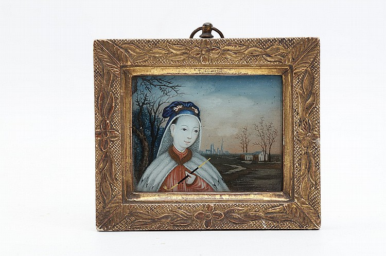 A CHINESE MINIATURE REVERSE GLASS PAINTING.   Qing Dynasty, 18th Century.   Depicting a lady in a cloak, a long pipe in the left hand, in the background a European landscape, framed, 8.5 x 10cm.   ? ??????