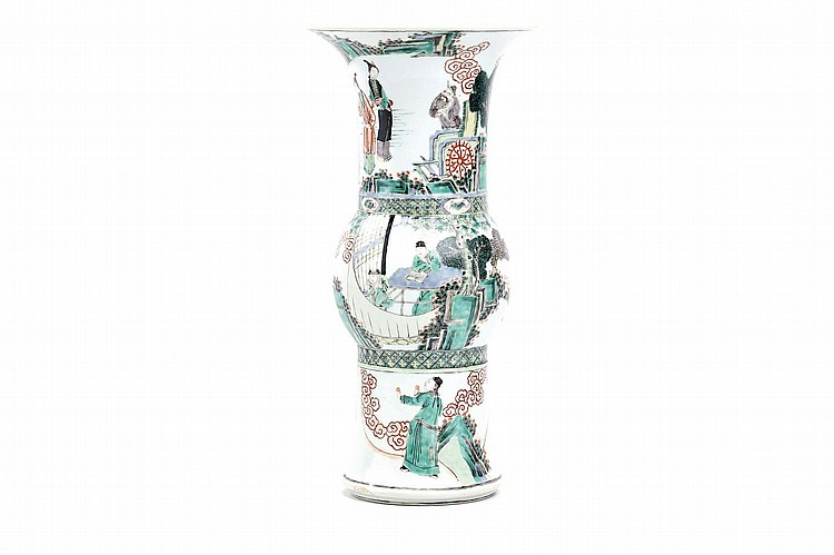 A CHINESE FAMILLE VERTE GU-SHAPED BEAKER VASE. Qing Dynasty. The lower section, bulbous mid-section and flared neck each painted with a continuous figurative scene, 46cm H. ? ????????