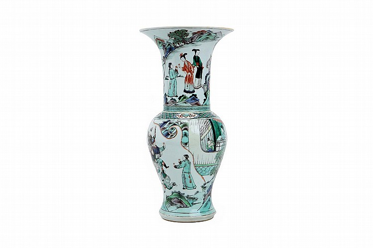 A CHINESE FAMILLE VERTE YENYEN VASE.   Qing Dynasty.   The body and the flared neck painted with a continuous figurative scene 45cm H.   ? 18?? ??????????