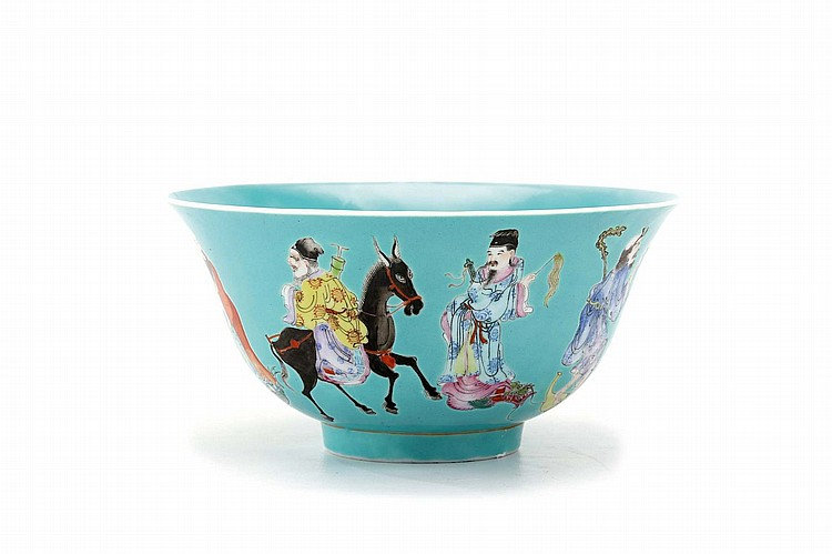 A CHINESE 'EIGHT IMMORTALS' BOWL.   Qing Dynasty, Jiaqing mark and of the period.   The figures equally spaced around the exterior, reserved on a turquoise ground, six character mark to base, 9cm H, 18cm diameter.   ? ?? ????? ?????????