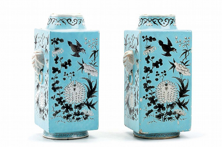 A PAIR OF CHINESE FANGGU VASES. Late Qing Dynasty. Decorated with birds and chrysanthemums on a turquoise ground with modelled elephant head ring handles, Da Qing Guangxu nianzhi mark to base, 30cm H. (2) ??? ????????