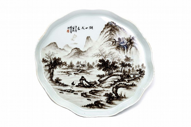 A CHINESE PORCELAIN 'LANDSCAPE' TEA TRAY. 20th Century. Painted with a lone figure in a mountainous landscape, 26 x 29cm. 20?? ????????? ??? ???? ????????