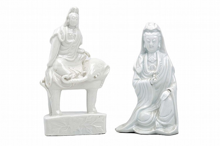 A CHINESE BLANC-DE-CHINE 'PUXIAN AND ELEPHANT GROUP', TOGETHER WITH A FURTHER GUANYIN.   Qing Dynasty, 18th Century, and later.   The deity seated on the elephant which stands four-square with the head turned to the right, on a floral-decorated base, 20cm H / 18cm H. (2)   ? ????????????????