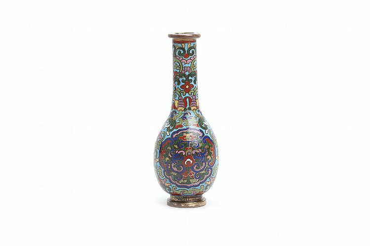 A CLOISONNÉ ENAMEL TOOL VASE. Qing Dynasty, Qianlong era. The globular body and neck decorated with scrolling foliage on a turquoise blue ground, with two quadrifoil panels bordered with ruyi heads, enclosing a pair of confronting dragons, the stepped foot and rim gilt, 11.5cm H. ? ?????