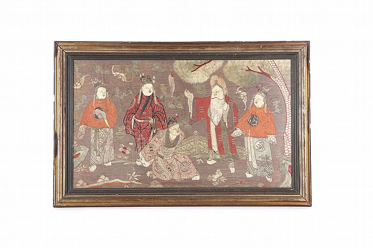 A COLLECTION OF THREE CHINESE TEXTILES. Qing Dynasty. Comprising an embroidered figurative panel, framed and glazed, 46 x 76cm, a red ground robe, 67cm H, 117cm across, a green ground textile embroidered with a bird roundel, 69 x 69cm. (3) ? ????