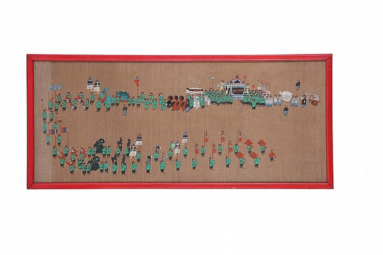 A SET OF FOUR CHINESE PAINTINGS OF A MARRIAGE PROCESSION.   Late 19th / early 20th Century.   22 x 66cm. (4)   ? ??????