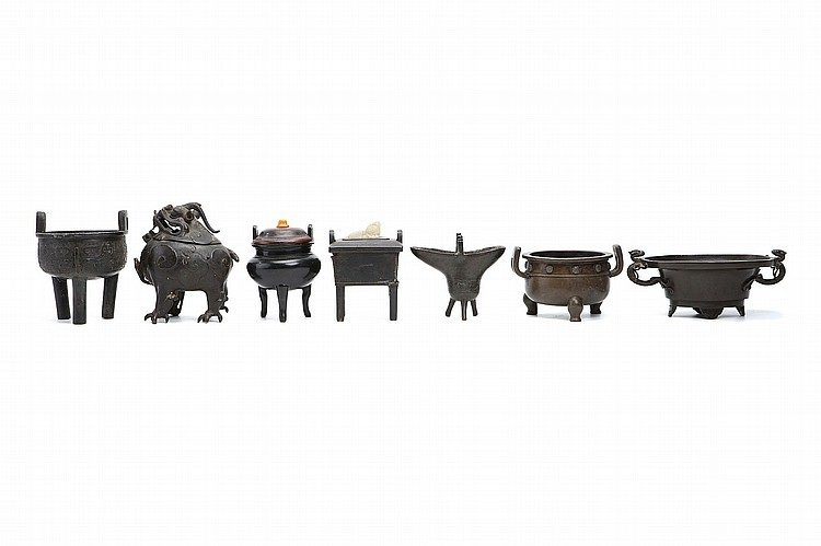 A COLLECTION OF SEVEN CHINESE BRONZE CENSERS. Ming – Qing Dynasty. 9.5-17cm H. (7) Provenance: Collection of Mr (1926 –) and Mrs Chen (1930 –). ????? ?????