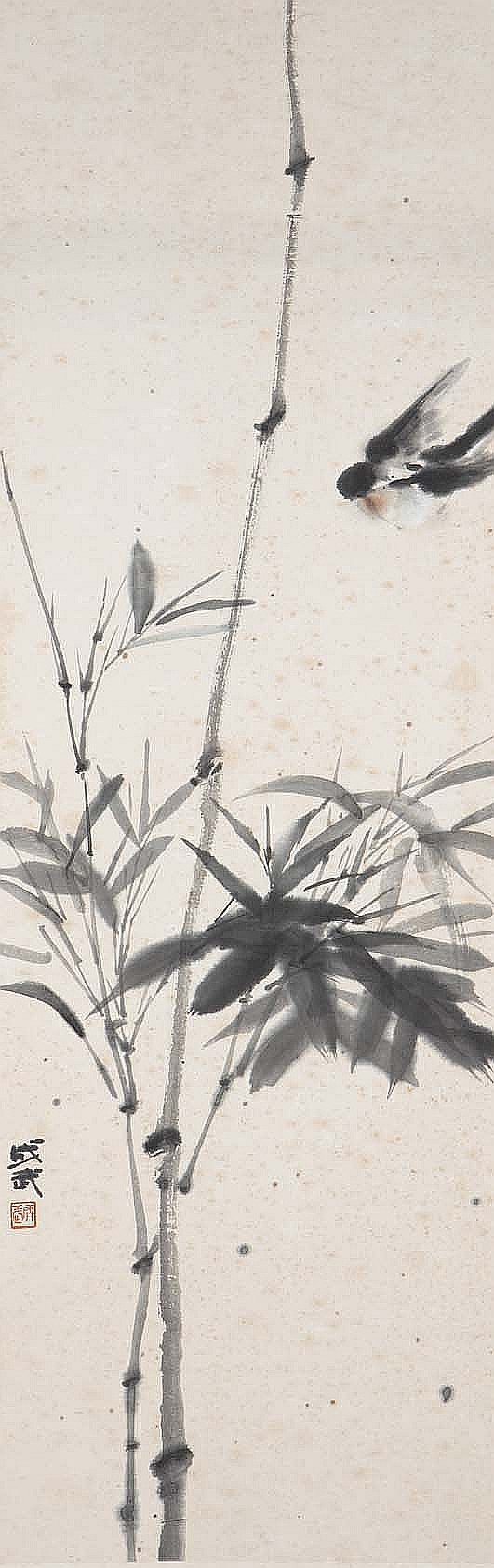 FEI CHENGWU (1911 – 2000) AND ZHANG QIANYING (1909 – 2003). Bird and flowers, signed Chengwu, with one seal of the artist, 92 x 30cm; Yu hong lou, 1974, signed Qianying with two seals of the artist, 48x 130cm; haiwai cunzhi yi tianya ruo bilin, 1974, signed Qianying with two seals of the artist, 45 x 104cm. (3) Provenance: Collection of Mr (1926 –) and Mrs Chen (1930 –), gifted to them by Fei Chengwu and Zhang Qianying. ???(1911 – 2000) ???????????????? ???(1909 – 2003) ????????? ???? ?????????????? ?????? ?????????? ??? ?? ???? ??????????????