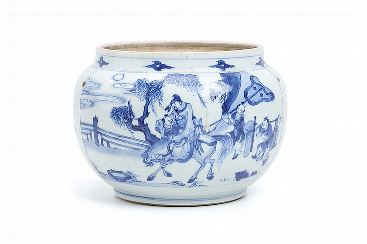 A BLUE AND WHITE JARDINÈRE.   Qing Dynasty, Kangxi era.   The body decorated with panels of figures in a landscape, 16cm H, 22cm diameter.   ? ?? ????????