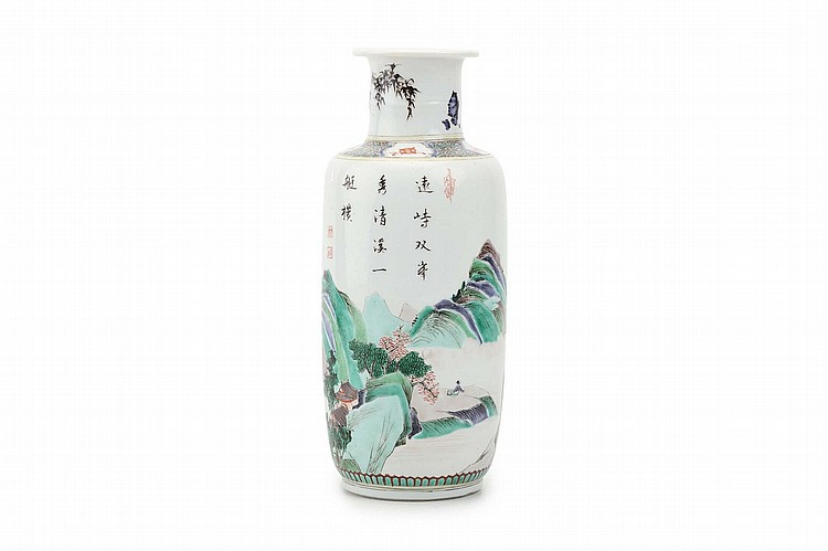 A CHINESE FAMILLE VERTE 'LANDSCAPE' ROULEAU VASE.   Qing Dynasty, Kangxi era.   The body decorated with a continuous landscape scene below a calligraphic inscription, the neck painting with bamboo, 26cm H.   ? ?? ???????   ?????????????