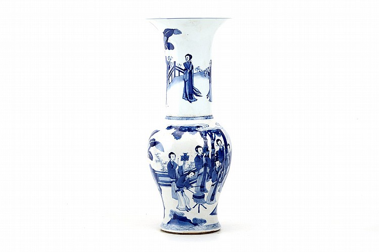A CHINESE BLUE AND WHITE YENYEN VASE.   Qing Dynasty, Kangxi era.   The body decorated with a group of female musicians on a garden veranda, another group of ladies populating the neck, 42cm H.   ? ?? ???????