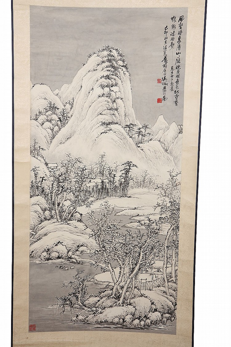 WU DAIQIU (1878 – 1949).   1915.   Snowy autumn landscape, ink and colour on paper, hanging scroll, 111 x 52cm.   Provenance: Brian Pearson (1926 – 2003) Collection, acquired in China between 1945 and 1946.   ???(1878 – 1949)   ?????????????????????????????????????????????????    ??????????????????????