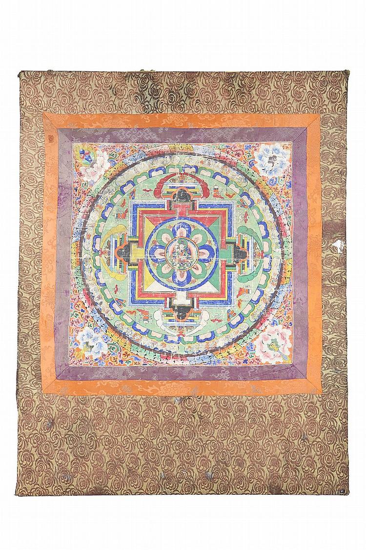 A THANGKA OF A CHAKRASAMVARA MANDALA. 19th Century. With Chakrasamvara and Vajravarahi in embrace at centre, the painting 53.5 x 52cm. 19?? ?????