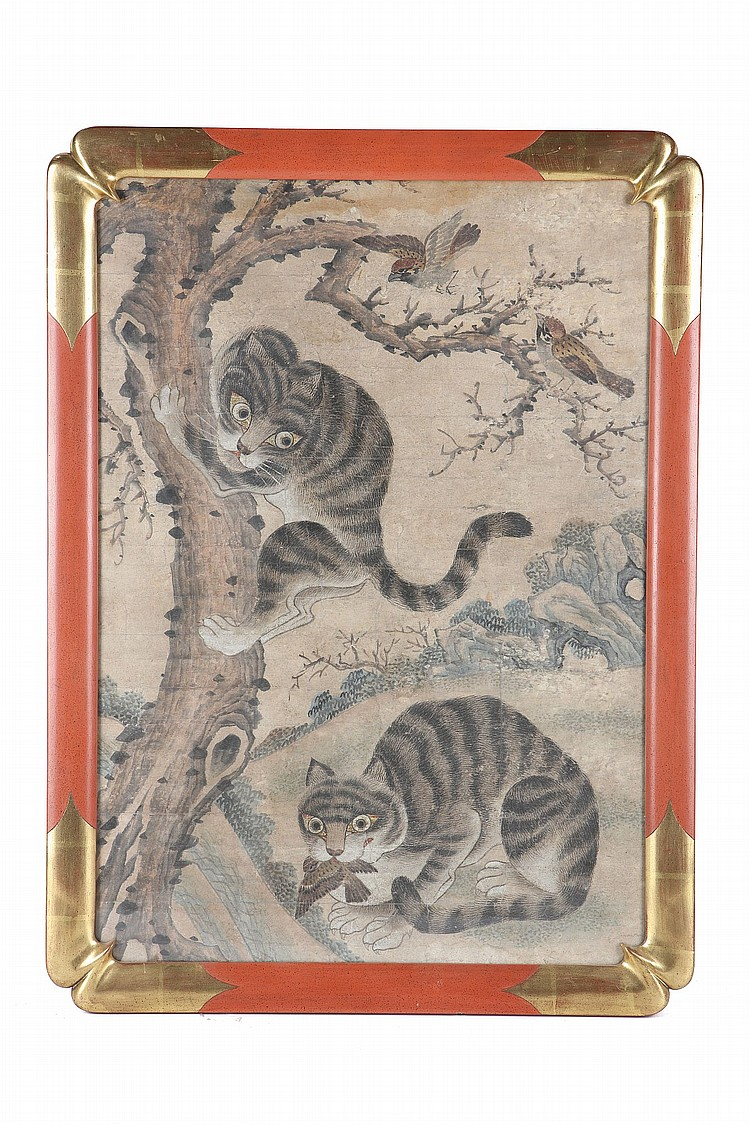 A KOREAN PAINTING OF TWO CATS WITH BIRDS. Depicting one cat clambering up a tree in which sit two birds sit, the other sat on the ground with a bird in the mouth, ink and colour on paper, framed and glazed, 93 x 69cm. Provenance: London private collection; Christie's South Kensington, Oriental Ceramics and Works of Art, 14 May 1990, lot 150. ?????