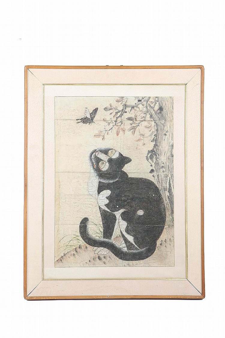 A KOREAN PAINTING OF A CAT AND BUTTERFLY.   The cat sitting with the head raised towards the butterfly, in front of a tree, ink and colour on paper, framed and glazed, 66 x 46cm.   Provenance: London private collection.   ????