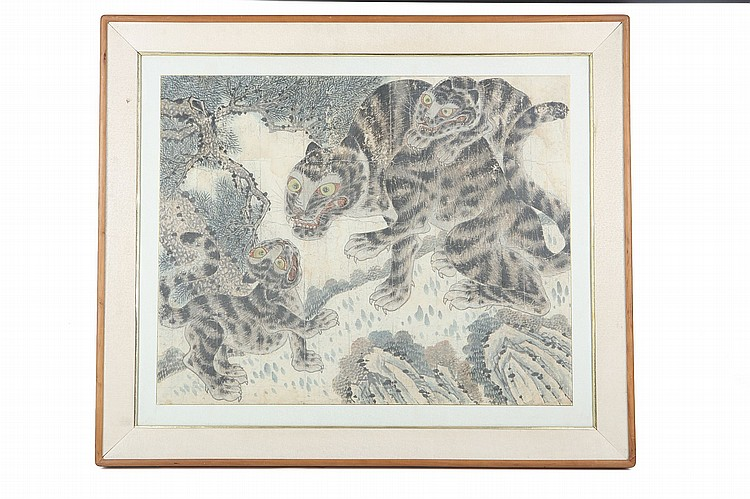 A KOREAN PAINTING OF A TIGERS WITH CUBS. The tiger with a paw raised in front of the cub in a similar pose, another cup clambering over the tiger's back, ink and colour on paper, framed and glazed, 72 x 89cm. Provenance: London private collection; Christie's South Kensington. ?????