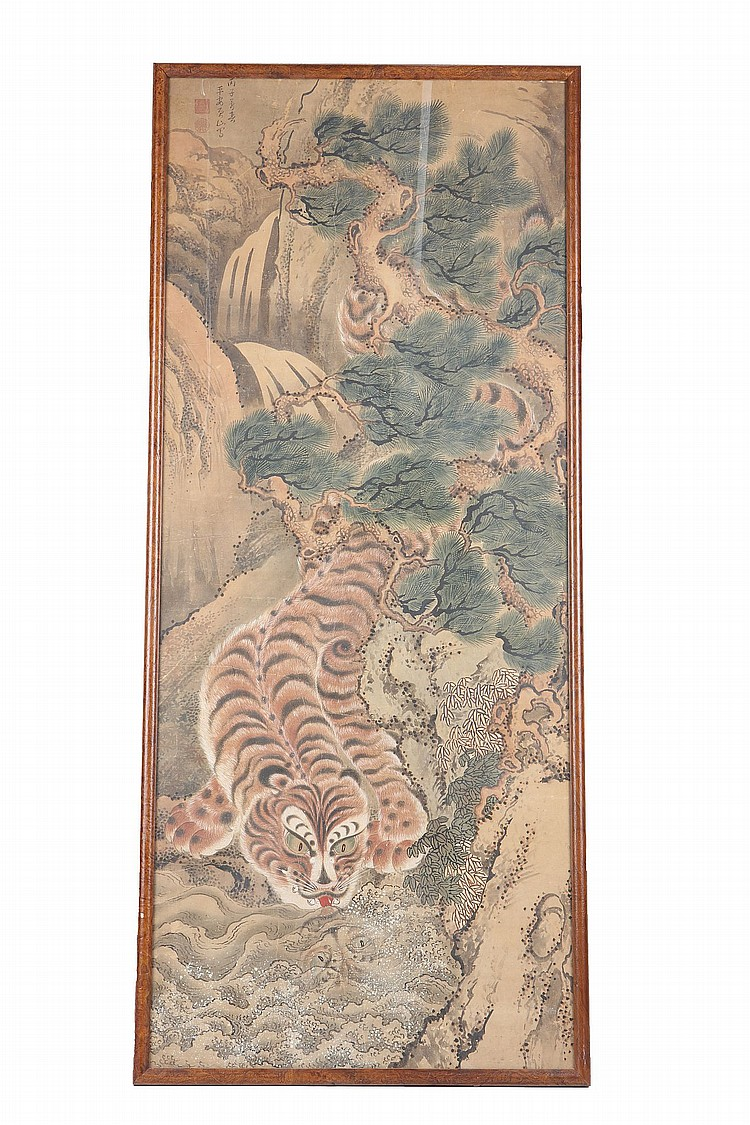 A PAINTING OF A TIGER.   The tiger drinking from a stream bellow pines and waterfalls, its reflection visible in the water, inscription to top left, 135 x 59cm.   Provenance: London private collection.   ??