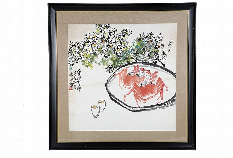 ZHANG LEIPING (1945 - ).   1988.   Jinqiu shijie, ink and colour on paper, framed and glazed, 65 x 68cm.   ???(1945 –)   ??????? ???? ???    ????????